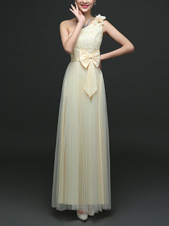 Champagne Maxi One Shoulder Lace Dress for Bridesmaid Prom