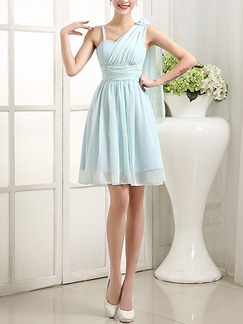 Blue Fit & Flare Above Knee Dress for Bridesmaid Prom