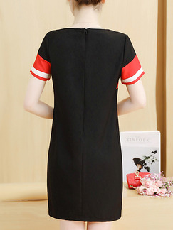 Black Red and White Shift Above Knee Plus Size Dress for Casual Party