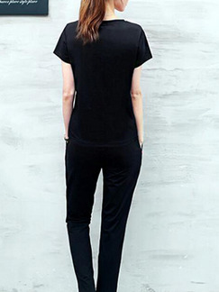 Black Two Piece Shirt Pants Plus Size Jumpsuit for Casual