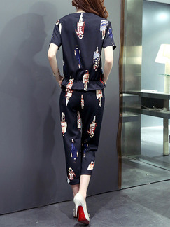 Black Colorful Two Piece Shirt Pants Plus Size Jumpsuit for Casual Office Evening