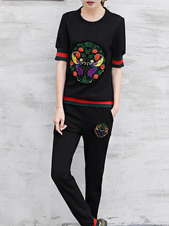 Black Colorful Two Piece Shirt Pants Plus Size Jumpsuit for Casual