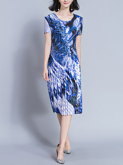 Blue and White Shift Knee Length Plus Size Dress for Casual Office Party Evening