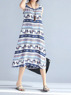 Blue and White Colorful Shift Midi Plus Size Dress for Casual Beach