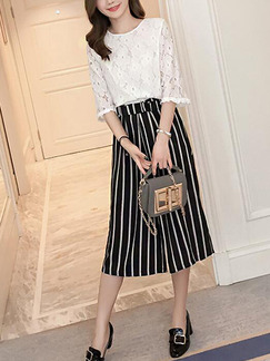White and Black Stripe Two Piece Shirt Pants Plus Size Wide Leg Jumpsuit for Casual Office Evening