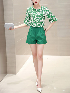 Green and White Two Piece Shirt Shorts Plus Size Jumpsuit for Casual Evening Office