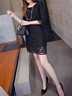 Black Sheath Above Knee Plus Size Lace Dress for Casual Party Evening
