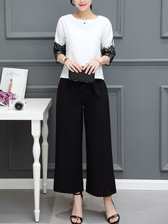 1317483cb27 Black and White Two Piece Shirt Pants Plus Size Wide Leg Jumpsuit for Casual  Office Evening