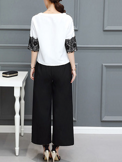 Black and White Two Piece Shirt Pants Plus Size Wide Leg Jumpsuit for Casual Office Evening