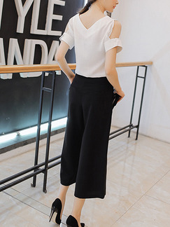 Black and White Two Piece Shirt Pants Plus Size Wide Leg V Neck Jumpsuit for Casual Office Evening Party