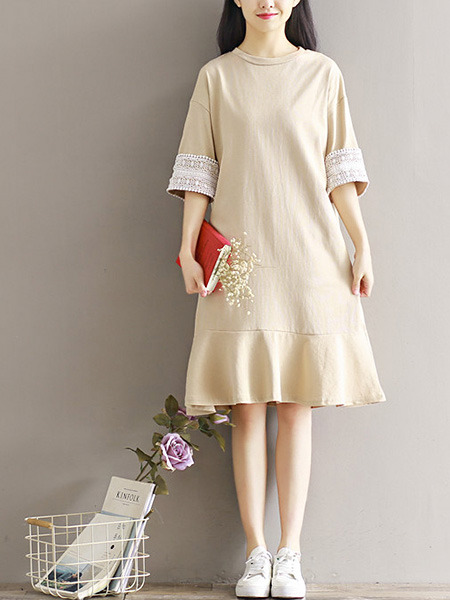 Beige Shift Knee Length Plus Size Dress for Casual Party