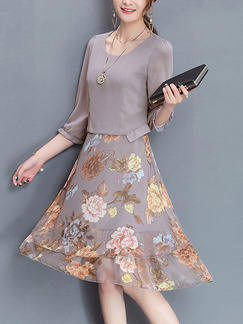 Grey Colorful Fit & Flare Knee Length Plus Size Floral Dress for Casual Office Party Evening