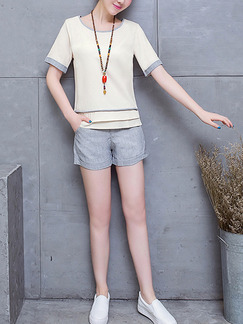 Beige and Grey Two Piece Shirt Shorts Plus Size Jumpsuit for Casual Party