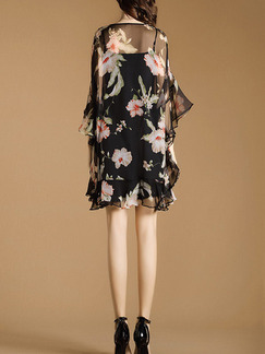Black Shift Knee Length Plus Size Floral Dress for Casual Party Evening