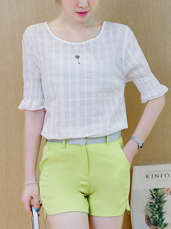 White and Green Two Piece Shirt Shorts Plus Size Jumpsuit for Casual Office Evening Party