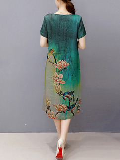 Green Colorful Midi Plus Size Dress for Casual Party Evening