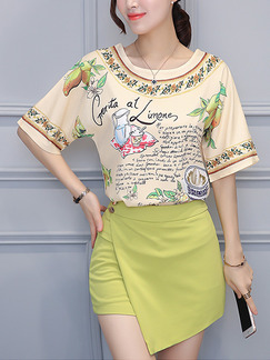 Green and Beige Colorful Two Piece Shirt Shorts Plus Size Jumpsuit for Casual Party Evening