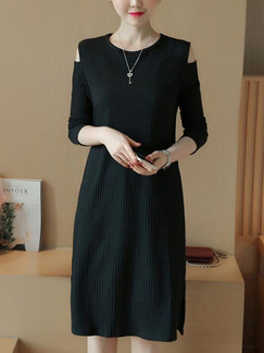 Black Shift Knee Length Plus Size Dress for Casual Party Office
