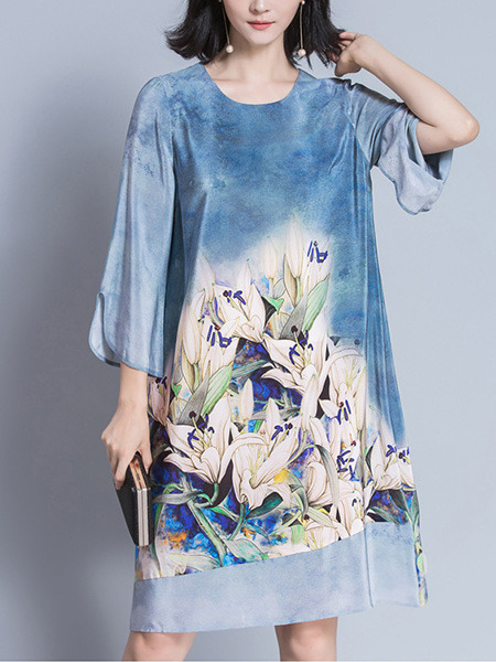 Blue Colorful Shift Knee Length Plus Size Floral Dress for Casual Party Evening