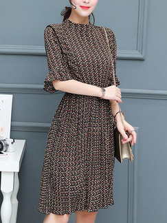 Brown Shift Knee Length Plus Size Dress for Casual Office Evening