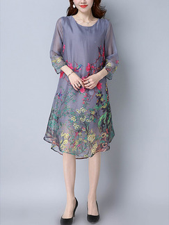 Grey Colorful Shift Knee Length Plus Size Floral Dress for Casual Party