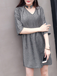 Grey Shift Above Knee V Neck Dress for Casual Party Evening