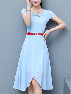 Blue Shift Knee Length Plus Size Dress for Casual Party Evening Office