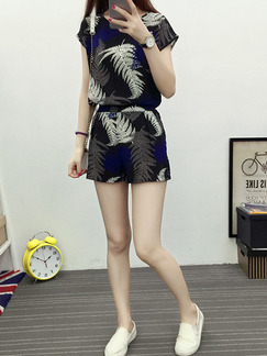 Black Blue and White Two Piece Shirt Shorts Plus Size Jumpsuit for Casual Party