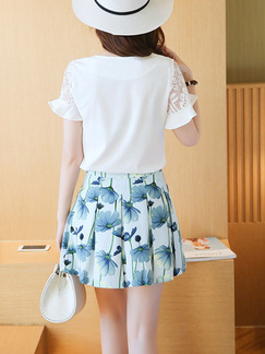 Blue and White Colorful Fit & Flare Above Knee Plus Size Floral Dress for Casual Party