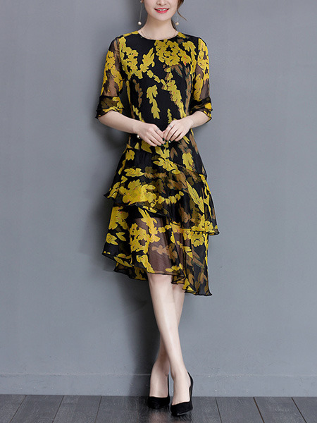 Black And Yellow Shift Knee Length Plus Size Dress For Cocktail