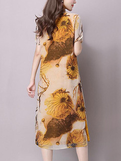 Brown Yellow Shift Knee Length Plus Size Dress for Casual Party