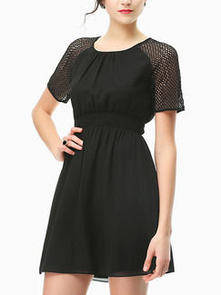 Black Fit & Flare Above Knee Plus Size Dress for Casual Party Evening