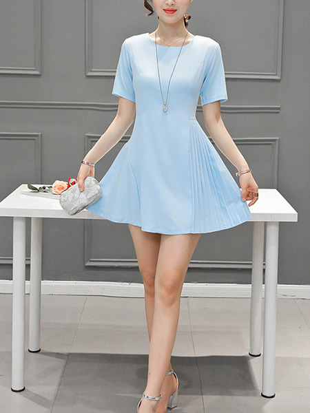 Blue Fit & Flare Above Knee Plus Size Dress for Casual Party Evening