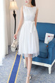 White Fit & Flare Knee Length Plus Size Dress for Casual Party Evening