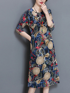 Colorful Midi Plus Size Dress for Casual Party Evening