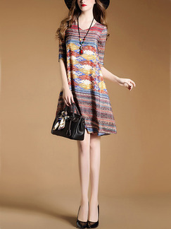 Colorful Shift Above Knee Plus Size V Neck Dress for Casual Evening Party