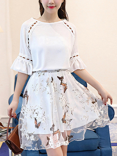 White Fit & Flare Above Knee Plus Size Dress for Casual Party Evening