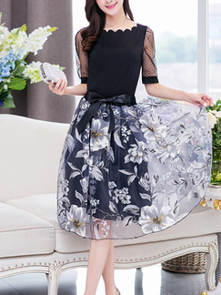 Black Fit & Flare Knee Length Plus Size Floral Dress for Casual Party Evening