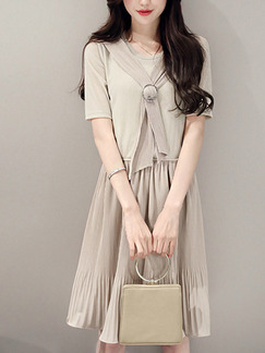 Beige Fit & Flare Above Knee Plus Size Dress for Casual Party Evening Office