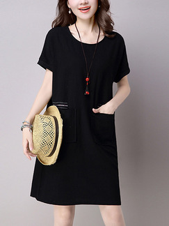 Black Shift Knee Length Plus Size Dress for Casual Party
