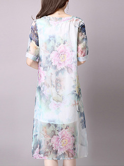 Blue Colorful Shift Knee Plus Size Floral Dress for Casual Party