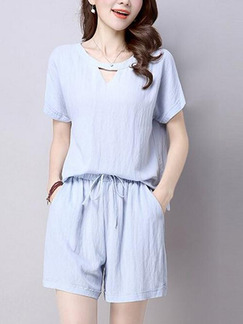 Blue Grey Two Piece Shirt Shorts Plus Size Jumpsuit for Casual Party Evening