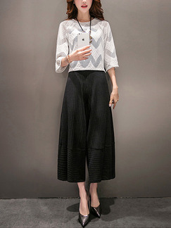 Black and White Two Piece Shirt Pants Plus Size Wide Leg Jumpsuit for Casual Party