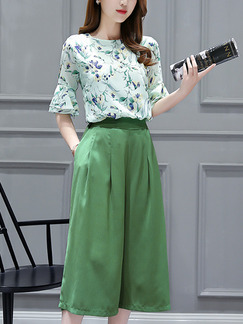 Green Colorful Two Piece Shirt Pants Wide Leg Plus Size Jumpsuit for Casual Office Evening Party
