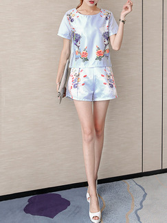 Blue Colorful Two Piece Shirt Shorts Plus Size Floral Jumpsuit for Casual Evening Party