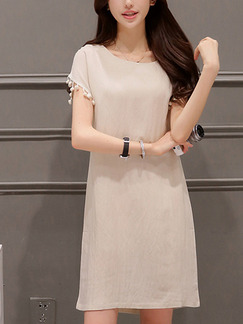 Beige Shift Above Knee Plus Size Dress for Casual Party Evening