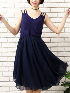 Purple and Blue Fit & Flare Knee Length  Dress for Casual Office Party
