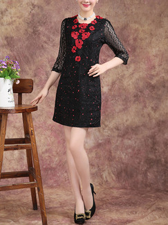 Black and Red Shift Above Knee Plus Size Dress for Casual Office Evening Party