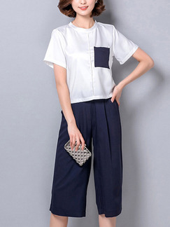 26276579eedf Blue and White Two Piece Shirt Pants Plus Size Jumpsuit for Casual Office  Evening