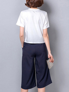 Blue and White Two Piece Shirt Pants Plus Size Jumpsuit for Casual Office Evening